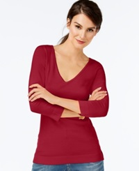 Inc International Concepts V Neck Three Quarter Sleeve Sweater Only At Macy's Glamorous Red