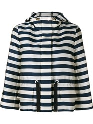 Moncler Silk Drawstring Hooded Jacket Blue White Navy Silver