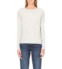 The White Company Cowl Neck Cotton Blend Jumper Pale Grey Marl