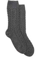 Corgi Cable Knit Cashmere Socks Grey