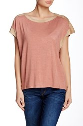 Democracy Faux Suede Trim Oversize Tee Red