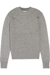 Rebecca Minkoff Durand Stud Embellished Wool And Cashmere Blend Sweater Anthracite