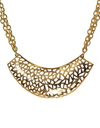 Kara Ross Goldtone Multi Chain Necklace With Crescent Pendant