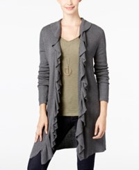 Inc International Concepts Ruffled Cardigan Only At Macy's Medium Heather Grey