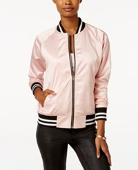 Say What Juniors' Tiger Bomber Jacket Light Pink