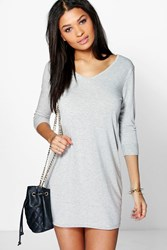 Boohoo V Neck T Shirt Shift Dress Grey Marl