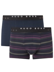 Boss Logo Boss Plain And Stripe Trunks Pack Of 2 Blue