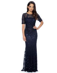 Decode 1.8 Long Beaded Lace Gown Navy