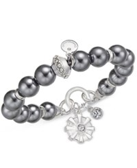Charter Club Semi Precious Large Round Bead Crystal Enhanced Flower Charm Stretch Bracelet Only At Macy's Silver