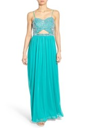 Bee Darlin 'Madge' Embellished Bodice Gown Green