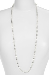 Nadri Faux Pearl Long Necklace Rhodium