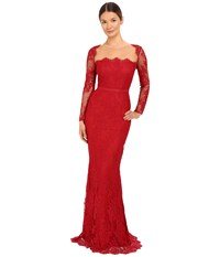 Marchesa Long Sleeve Lace Gown With Illusion Neckline Red