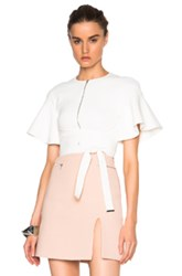 David Koma Flounce Sleeve Crop Top In White