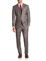 Saks Fifth Avenue Samuelsohn Texturedwool Suit Light Grey