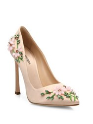 Giambattista Valli Floral Embroidered Satin Pumps Pink