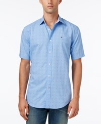 Tommy Hilfiger Men's Big And Tall Melvin Dobby Shirt Collection Blue