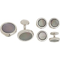 Barneys New York Men's Mother Of Pearl Round Formal Cufflink And Stud Set Silver