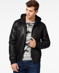 Guess Faux Leather Mixed Media Bomber