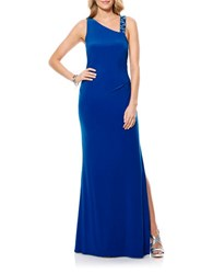 Laundry By Shelli Segal Beaded Strap Jersey Gown Vibrant Blue