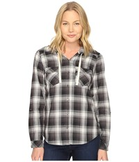 Columbia Times Two Hooded Long Sleeve Shirt Black Plaid Women's Long Sleeve Button Up