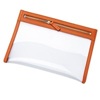 Stow Soft Leather See View Transparent Travel Pouch Organiser Amber Orange Yellow Orange