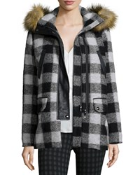 Joie Roni River Plaid Coat With Faux Fur Hood Caviar Porcelain