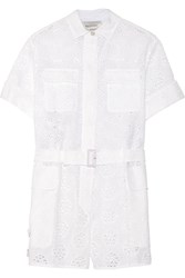 Valentino Broderie Anglaise Cotton Blend Playsuit White