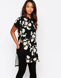 Daisy Street High Neck Top In Floral Print Black
