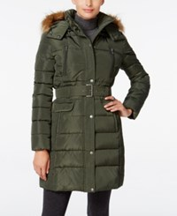 Tommy Hilfiger Faux Fur Trim Hooded Belted Puffer Coat Army