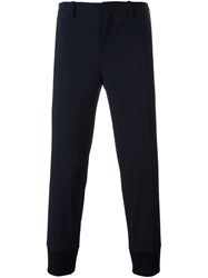 Neil Barrett Cropped Tapered Trousers Blue