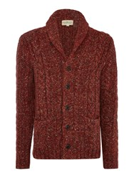 Denim And Supply Ralph Lauren Shawl Neck Buttom Front Marl Cardigan Red