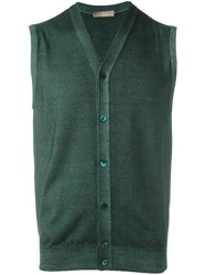 Cruciani V Neck Sleeveless Cardigan Green