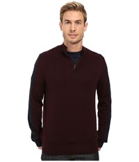 Perry Ellis Color Block 1 4 Zip Sweater Port Men's Sweater Burgundy