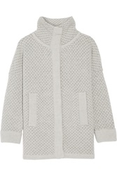 Duffy Textured Wool Blend Cardigan Gray