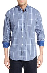 Tailorbyrd Men's 'Ural Mountains' Regular Fit Windowpane Sport Shirt Peri Blue
