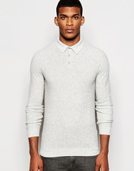 Reiss Long Sleeve Knitted Polo Shirt With Textured Jacquard Lightgreymarl