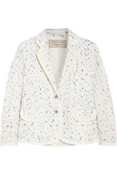 Maison Kitsune Boucle Tweed Blazer White