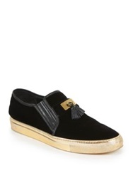 Balmain Tasseled Velvet Slip On Sneakers Black Gold