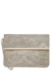 Warehouse Clean Bar Detail Clutch Light Grey