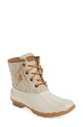 Sperry Women's 'Saltwater Quilted' Duck Boot Ivory Oatmeal Canvas