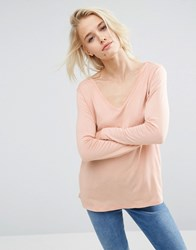 Asos The New Forever T Shirt With Long Sleeves And Dip Back Nude Pink