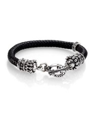 King Baby Studio Braided Leather Crown Toggle Bracelet Black Silver