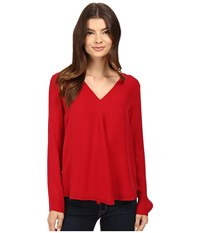 Heather Silk Double Layer Long Sleeve Top Crimson Women's Clothing Red