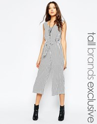 Glamorous Tall Fine Stripe Wide Leg Jumpsuit Multi