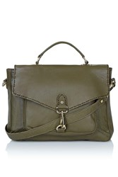 Topshop Leather Satchel Khaki