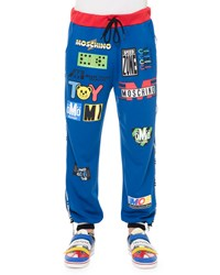 Moschino Logo Print Banded Sweatpants Blue Women's