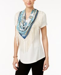 Styleandco. Style Co. T Shirt With Fringe Scarf Only At Macy's Warm Ivory
