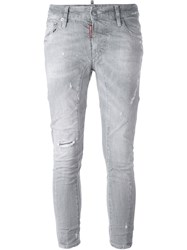 Dsquared2 'Cool Girl' Cropped Jeans Grey
