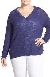 Plus Size Women's Caslon Long Sleeve Cotton Hoodie Sweater