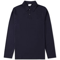 Sunspel Long Sleeve Heavyweight Polo Blue